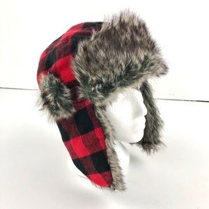 Other - Red and plaid buffalo plaid trapper hat, NWOT